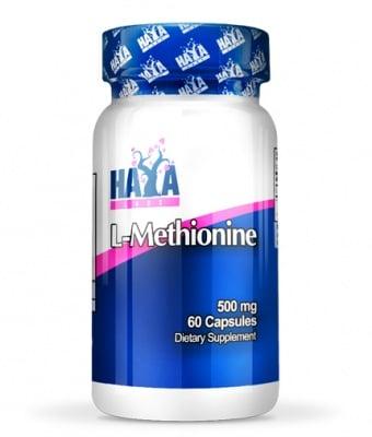 L - МЕТИОНИН - спомага за детоксикацията на организма, силен антиоксидант - капсули 500 мг. х 60, HAYA LABS