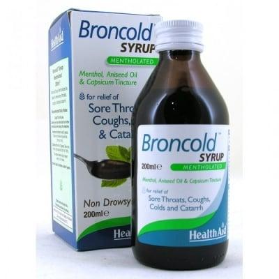 БРОНКОЛД СИРОП - облекчава симптомите при възпалено гърло, хрема и настинка -  200 мл., HEALTH AID