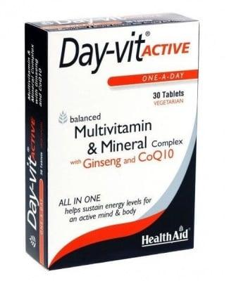 ДЕЙ-ВИТ АКТИВ - балансиран комплекс от минерали, мултивитамини и аминокиселини - таблетки х 30, HEALTH AID