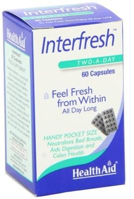 ИНТЕРФРЕШ -  премахва лошия дъх, подпомага храносмилането - 60 капсули