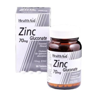 ЦИНК ГЛЮКОНАТ - подпомага въглехидратния метаболизъм и по-доброто усвояване на глюкозата - 70 мг. х 90 таблетки