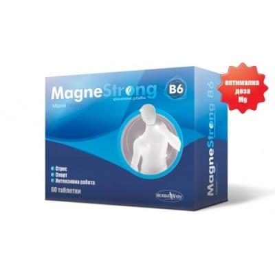 МАГНЕСТРОНГ - намалява чувството на отпадналост и умора, таблетки 610 мг. х  60, HERBA VON