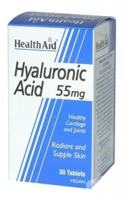 ХИАЛУРОНОВА КИСЕЛИНА - хидратира кожата, подпомага изглаждането на бръчките - таблетки 55 мг. х 30, HEALTH AID