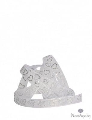 Лента шифон, 10 mm, 10m, бяла/сребристи сърца