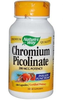 ХРОМ ПИКОЛИНАТ - регулира кръвната захар - капсули 200 мкг. х 60, NATURE'S WAY