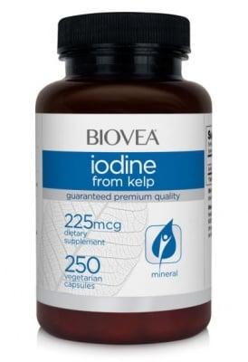 ЙОД ОТ КЕЛП - поддържа здрава функцията на щитовидната жлеза - капсули 225 мкг, х 250, BIOVEA