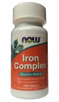 ЖЕЛЯЗО КОМПЛЕКС - повишава имунитета и засилва енергийния метаболизъм - таблетки х 100, NOW FOODS