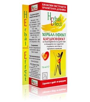 КАРДИОЕФЕКТ - ХЕРБАЛ ЕФЕКТ - балансира кръвното налягане и сърдечно-съдовата система, течна форма 70 мл., МИРТА МЕДИКУС