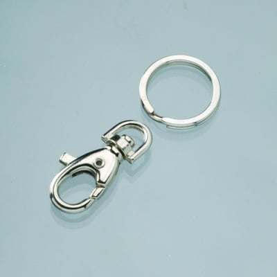 Ключодържател с халка и шарнир, 20 x 60 mm, сребрист