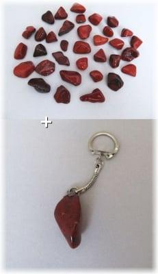 Комплект Ключодържател + Естествен камък ЧЕРВЕН ЯСПИС