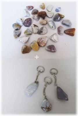 Комплект Ключодържател + Естествен камък ХАЛЦЕДОН