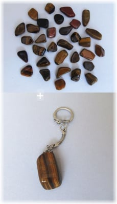 Комплект Ключодържател + Естествен камък ТИГРОВО ОКО