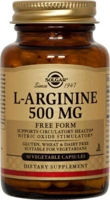 L - АРГИНИН 500 мг. предпазва на сърдечносъдовата система и черния дроб * 50капсули, СОЛГАР
