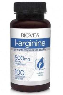 L-АРГИНИН - предпазва от високо кръвно и висок холестерол - капсули 500 мг. х 100, BIOVEA