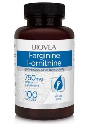 L-АРГИНИН / L-ОРНИТИН - улеснява качването на мускулна маса - капсули х 100, BIOVEA