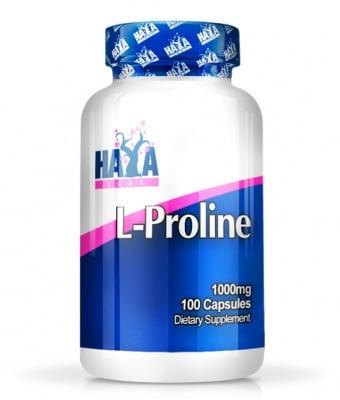 L - ПРОЛИН - подпомага изграждането на съединителната тъкан - капсули 1000 мг. х 100 бр, HAYA LABS