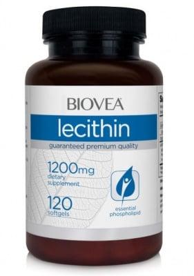 ЛЕЦИТИН - ефективно разгражда мазнините и повишава мозъчната функция - капсули 1200 мг. х 120, BIOVEA