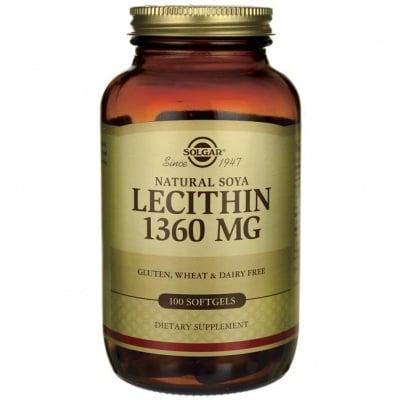 ЛЕЦИТИН 1360 мг. подпомага разграждането и отстраняването на мазнините * 100капсули, СОЛГАР