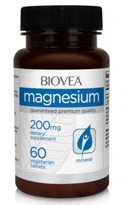 МАГНЕЗИЙ - оказва влияние на стотици химични реакции в организма - таблетки 200 мг. х 60, BIOVEA