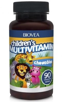 МУЛТИВИТАМИНИ ЗА ДЕЦА - укрепва имунитета и подпомага развитието на децата - дъвчащи таблетки х 90, BIOVEA