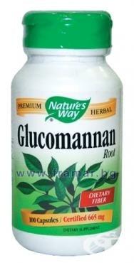 ГЛЮКОМАНАН - подпомага поддържане на нормални стойности на кръвната захар - капсули 665 мг. х 100, NATURE'S WAY