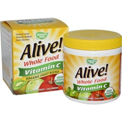АЛАЙВ ВИТАМИН С ПУДРА -  подсилва имунитета, формула с намалена киселинност - пудра 120 гр., NATURE'S WAY