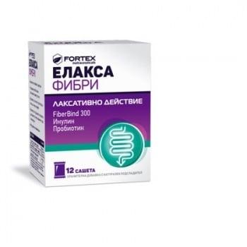 ЕЛАКСА ФИБРИ - комбинация от фибри, с добавен пробиотик за слабително действие *12 сашета, ФОРТЕКС