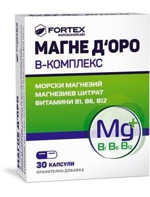 МАГНЕ Д'ОРО Б КОМПЛЕКС -  осигурява оптималното дневно количество магнезий и витамини от група Б *30 капс., ФОРТЕКС