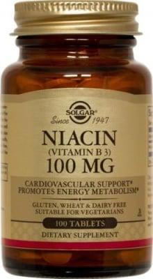 НИАЦИН 100 мг. за правилното кръвообращение* 100табл., СОЛГАР