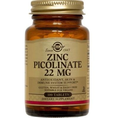 ЦИНК ПИКОЛИНАТ 22 мг. поддържа здравето на косата, ноктите и кожата* 100табл., СОЛГАР