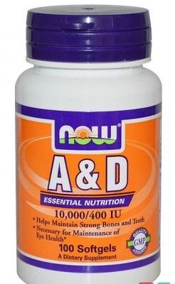 ВИТАМИН А + D - заздравява костите и подобрява зрението - дражета 10000 / 400 IU х 100, NOW FOODS