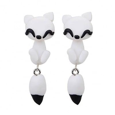 Арт обеци с 3D ефект - White Fox - Бялата Лисичка