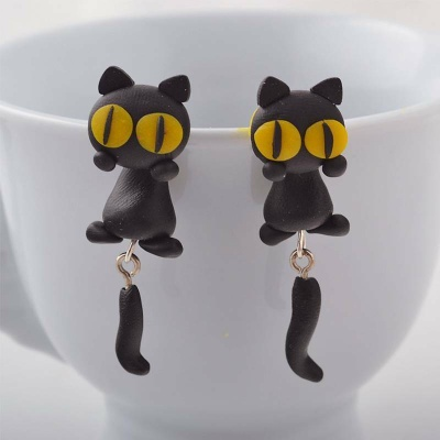 Арт обеци с 3D ефект - Cat with Yellow Eyes - Черно коте