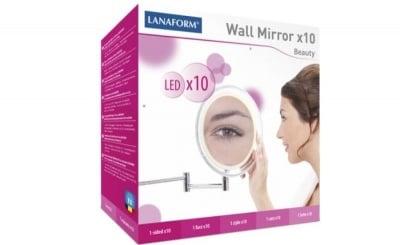 ОГЛЕДАЛО ЗА СТЕНА WALL MIRROR x 10 - диодно осветление и десетократно увеличение, ЛАНАФОРМ