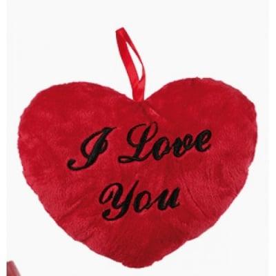 Червено плюшено сърце с надпис * 10см