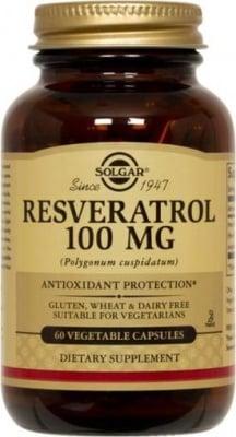 РЕСВЕРАТРОЛ - антиоксидант, подсилва здравето на сърдечно-съдовата система - капсули 100 мг. х 60, SOLGAR