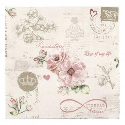 Салфетка за декупаж Ambiente 33x33 см трипластова Eternal Love-1 брой