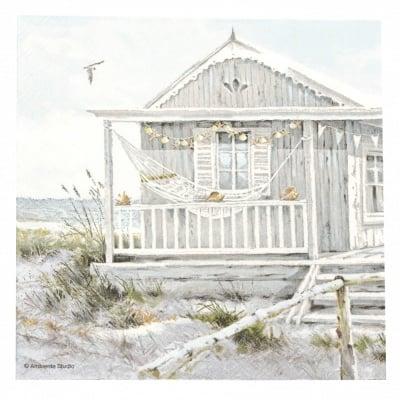 Салфетка за декупаж Ambiente 33x33 см трипластова Beach Cabin-1 брой