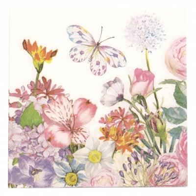 Салфетка за декупаж Ambiente 33x33 см трипластова Flowergarden-1 брой