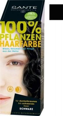 БОЯ ЗА КОСА НА ПРАХ ЧЕРНО за жени с тъмно кестеняви до черни коси 100 гр., САНТЕ