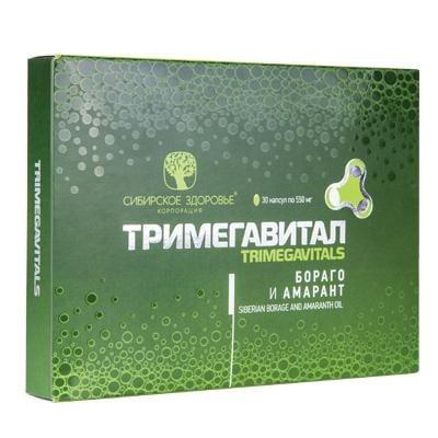 ТРИМЕГАВИТАЛ БОРАГО И АМАРАНТ - допълнителен източник на полиненаситени мастни киселини - капсули 550 мг. х 30, SIBERIAN HEALTH
