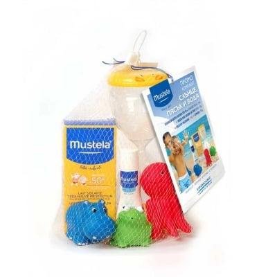 Слънцезащитен комплект -  лосион за бебета и деца SPF 50+ 100 мл + Hydra Baby - хидратиращ лосион 50 мл + пясъчен часовник + играчки * 3, МУСТЕЛА