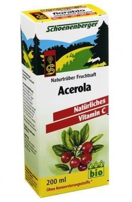 БИО СОК ОТ АЦЕРОЛА - естествен източник на витамин С - 200 мл., SCHOENENBERGER