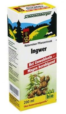 БИО СОК ОТ ДЖИНДЖИФИЛ - успокоява стомаха и подсилва стомашните сокове - 200 мл., SCHOENENBERGER