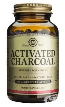 АКТИВЕН ВЪГЛЕН - подпомага нормалното функциониране на храносмилателната система - капсули х 100, SOLGAR