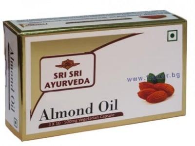 БАДЕМОВО МАСЛО - понижава холестерола и защитава клетките от оксидативен стрес - капсули 500 мг. х 30, SRI SRI AYURVEDA