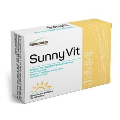 СЪНИ ВИТ - ВИТАМИН D3 - за поддържане на имунната система и нормалното състояние на костите - таблетки х 50, HERBA MEDICA