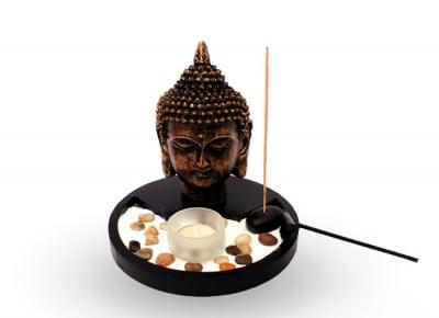 КОМПЛЕКТ БУДА - чаена свещ, ароматизирани пръчици и декорация от камъчета, COSMOPOLIS
