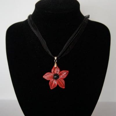 КОЛИЕ НОЛИНА – красота и очарованиe в червено от полимерна глина – ТАНЯ ТЕКНЕФЕЗОВА