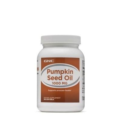 ТИКВЕНО СЕМЕ МАСЛО - подпомага функционирането на пикочния мехур и простатата - капсули 1000 мг. х 100, GNC